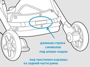 Серийный номер расположен под текстилем корзины на задней части рамы. Длинная строка символов под штрих-кодом и будет серийным номером товара